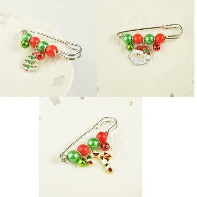 Unisex Christmas Xmas Safety Pin Brooch Corsage Breastpin Party Jewelry Gifts