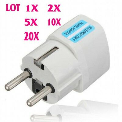 20x US AU UK GER ZA to EU Europe Travel AC Power Plug Adapter Konverter