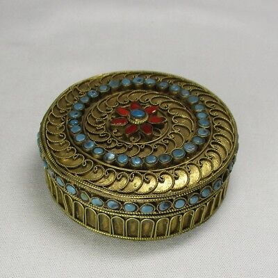 H401: Southeast Asian brass ware incense case with appropriate work