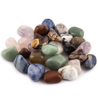 1LB CRYSTAL MIX Tumbled LOT Stones Polished Natural Assorted Bulk from Brazil