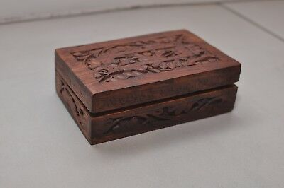 Wood Wooden Engraved Carved Box BRAND NEW