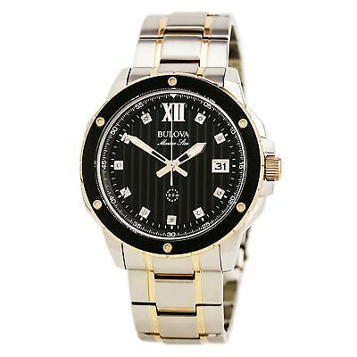 Bulova 98D127 Gent's Diamond Accented Black Dial Two Tone Watch