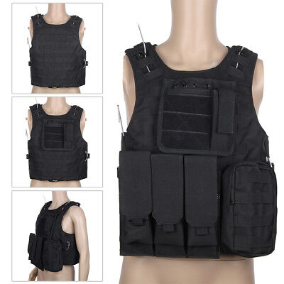 Black Tactical Military Vest Clothing Army Combat Assault Attachment Adjustable