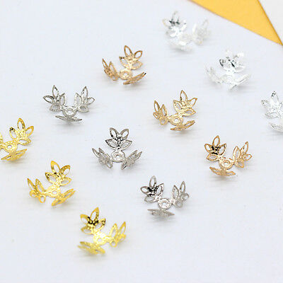 100p 16mm Metal flower end beads caps connector jewelry findings for DIY tassels