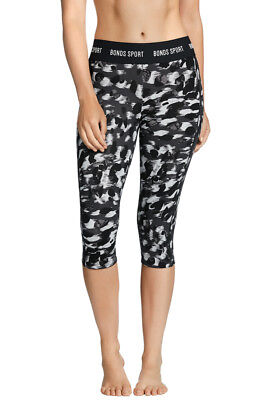 Bonds Ladies Black Print 1AQ Active 3/4 Capri Microfibre Leggings Size S New