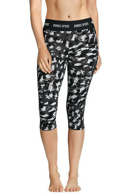 Bonds Ladies Black Print 1AQ Active 3/4 Capri Microfibre Leggings Size M New