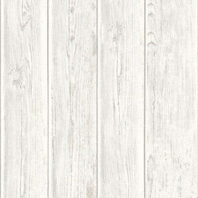 White & Grey Vintage Effect Timber Panelling Wallpaper - Textured - 10m Roll