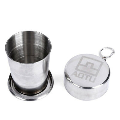 20X(Telescopic Stainless Steel Folding Cup With Buckle Three Section Outdoor B8A