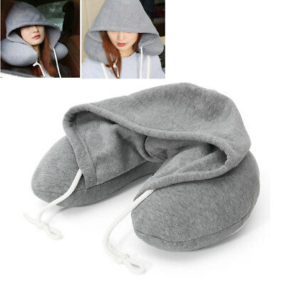 Hooded Hoodie U Shape Travel Neck Pillow Cushion Microbead Holiday Home Car Aid