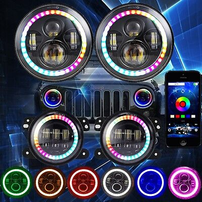 7'' Color Changing RGB LED Headlight+4'' RGB Fog Passing Light for Jeep Wrangler