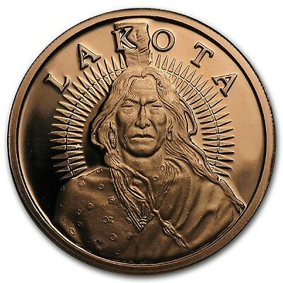Lakota (Crazy Horse) 1 oz .999 Copper Rounds x 20 In Tube - Only 100,000 Minted