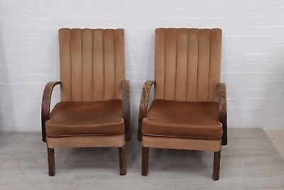 Pair Of Oak Mid Century Easy Chairs - Great Style, Good For Upholstery Project