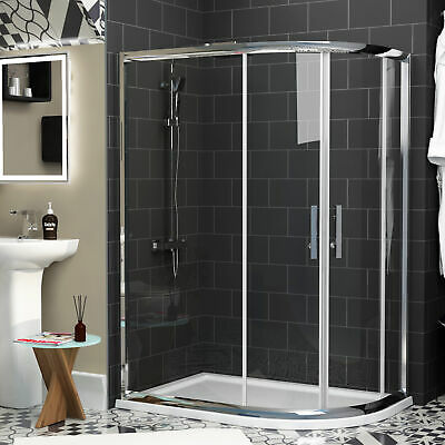 Modern Double Door Offset Quadrant Walk In Glass Shower Enclosure + Acrylic Tray