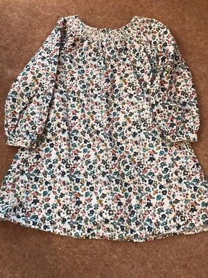 M&S Girls 3-4 Years Long Sleeve Dress Floral White Blue Pink Corduroy Style