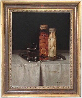Still Life Bottled Fruit Antique Oil Painting 19th/20th Century Hungarian School