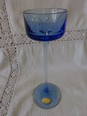 "Wedgwood Brancaster - Blue Glass Candlestick 8"" tall"