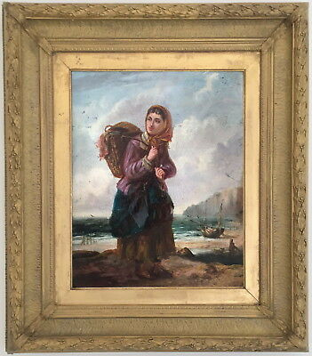 A Fisher Girl Antique Oil Painting Gertrude Jameson Barnes (American, 1865–1939)