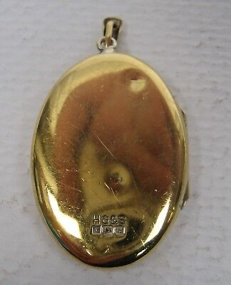 Vintage Solid Silver Gilt Pendant Locket Birmingham 1975 HG&S Small dents