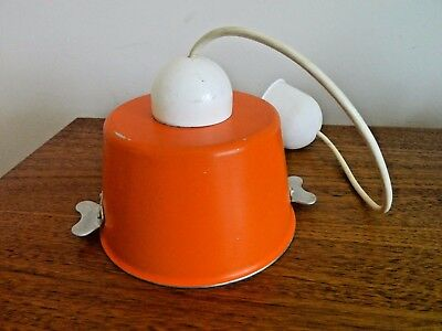 French Quirky Retro Vintage Orange Cook Pot Pendant Hanging Metal Light Fitting