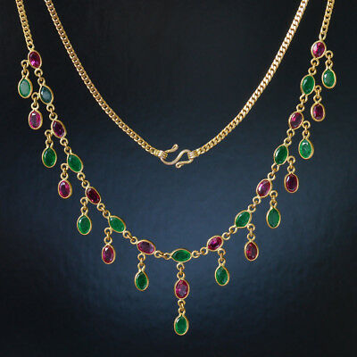 Antique Rubies and emerald drops Necklace