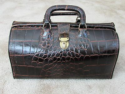Vintage Upjohn Genuine Moc Croc Brown Leather Doctor Bag