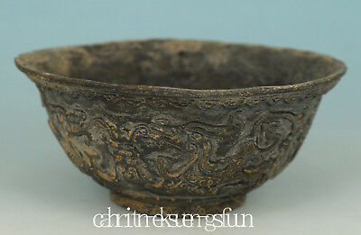 Chinese Old Bronze Handmade Carved Dragon Bowl Statue Home Decoration