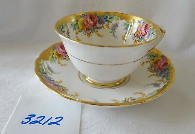 TUSCAN English bone china Cup & Saucer GARLAND  heavy gold on rims  floral