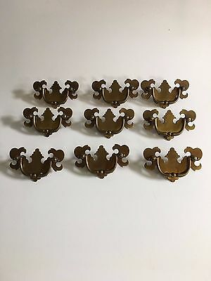 Set Of 12 Vintage Brass? Metal Drawer Pulls Handles Chippendale Bat Wing Style