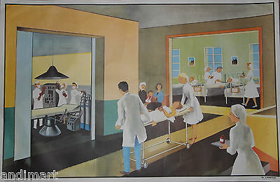 French Double Sided Classroom Poster 1960s/1970s The Hospital/Summer 100 x 65cms