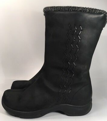 Dansko Black Leather Mid-Calf Boots Women's Sz 10.5/41 Zip/Pull On