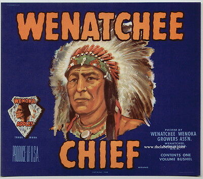 WENATCHEE CHIEF Vintage Apple Crate Label Indian blue, ***AN ORIGINAL LABEL***