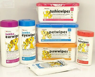 Pet Dog Puppy Wipes Cat Tushie , Paw, Pet, Ear, Eye, Itch Wipes Petkin Range