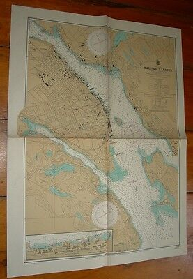 Old Working 1947  Nautical Chart Halifax NS Nova Scotia Hydrographic Service