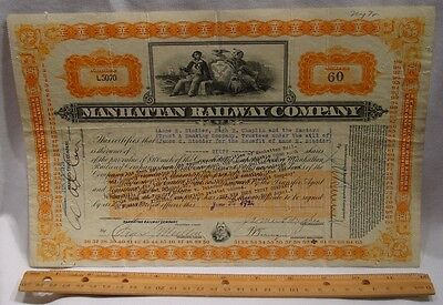 1920s Manhattan Railway Company Stock Certificate  - NYC Elevated Railway