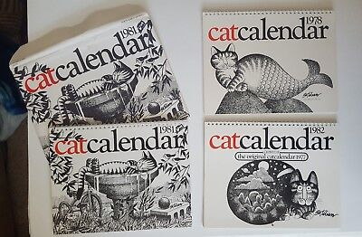 Lot of 3 Vintage B. Kliban Cat Calendars, 1978, 1981 and 1982