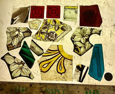 Vintage Stained Glass Fragments x 15 pieces