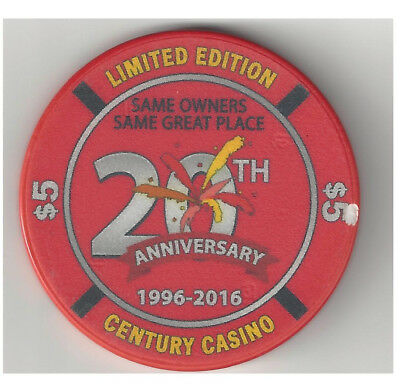 Cripple Creek Colorado Century Casino 5.00 Chip 20th Anniversary 2016
