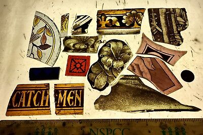 Vintage Stained Glass Fragments x 14 pieces