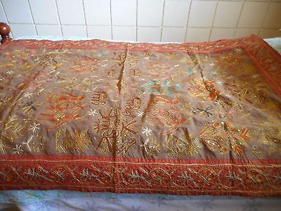 """Victorian 55"""" x 35-1/2"""" Table Runner/Wall Hanging/Tapestry--Embroidered"""