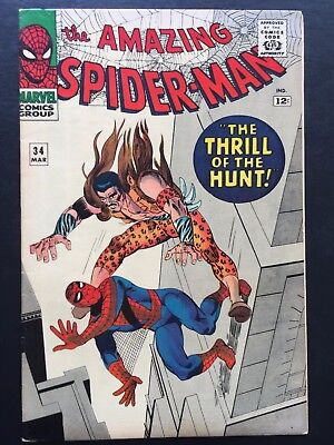 "The Amazing Spider-Man # 34 March 1966 FN/VF ""THE THRILL OF THE HUNT!"""