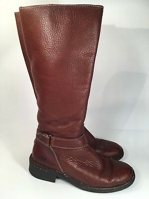 Børn Brown Leather Tall Boots Women's Sz 9M Zip Up Low Heel Lined
