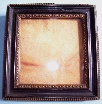 ANTIQUE Lt C19th MINIATURE EBONISED & GILT SHABBY HOGARTH PICTURE FRAME C.1880