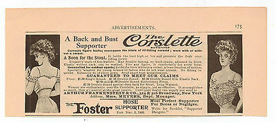 Vintage, Original, 1907 - The Corslette Advertisement - Back and Bust Supporter
