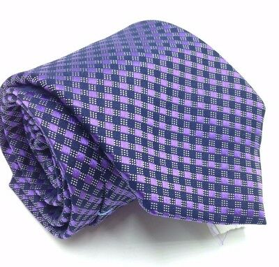 $124 COUNTESS MARA Men`s CHECK BLUE PURPLE TIE CLASSIC SLIM SILK NECKTIE 58X3.25