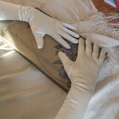 Vintage Long Luxurious Satin Opera/Wedding/Cocktail Gloves Size 7 1/2