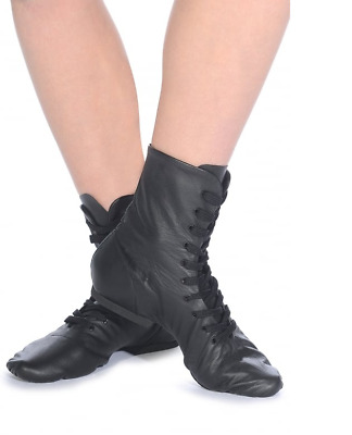 Black leather split sole jazz boots  - all sizes