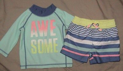 Awesome-Carter's Swim Trunks & Matching Top-Blue Striped-Size 18 Months-Nwt