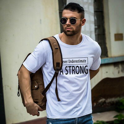 FT- Strong Letter Print Unisex Round Neck Short Sleeve Soft Top Tee T-Shirt Delu