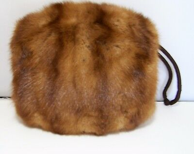 Mid Century Womans Light Brown Mink Fur Muff Fully Lined Inside Compartment 917