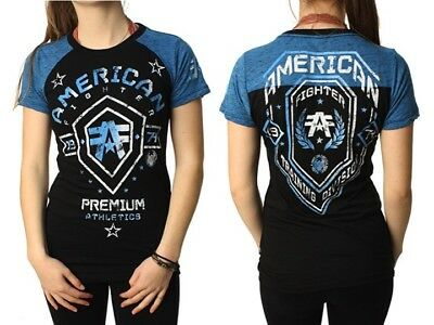 AMERICAN FIGHTER Womens T-Shirt ARKANSAS Athletic BLACK BLUE Biker Gym UFC $40